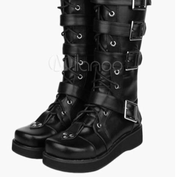07258ec92a1 Goth punk Lolita black combat boots. M 5b7771b65bbb8091e68d816a